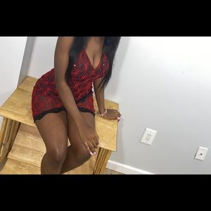 Red sequence mini dress